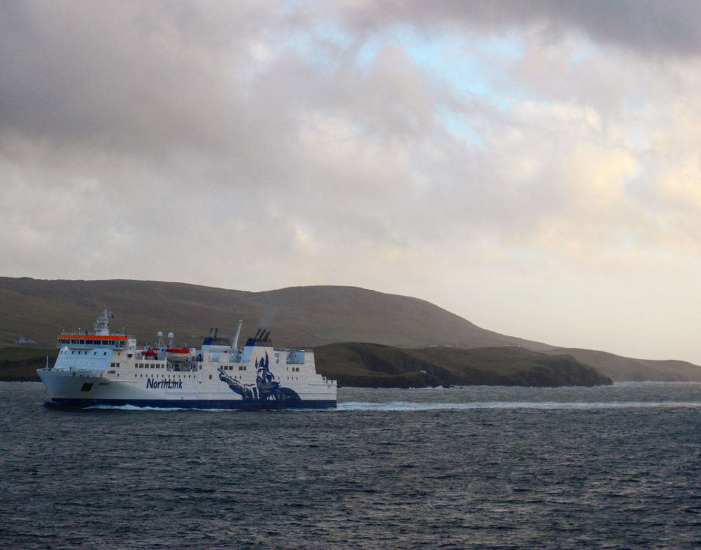 Northlink ferry, Hrossey coming in to Lerwick Harbour, Shetland.