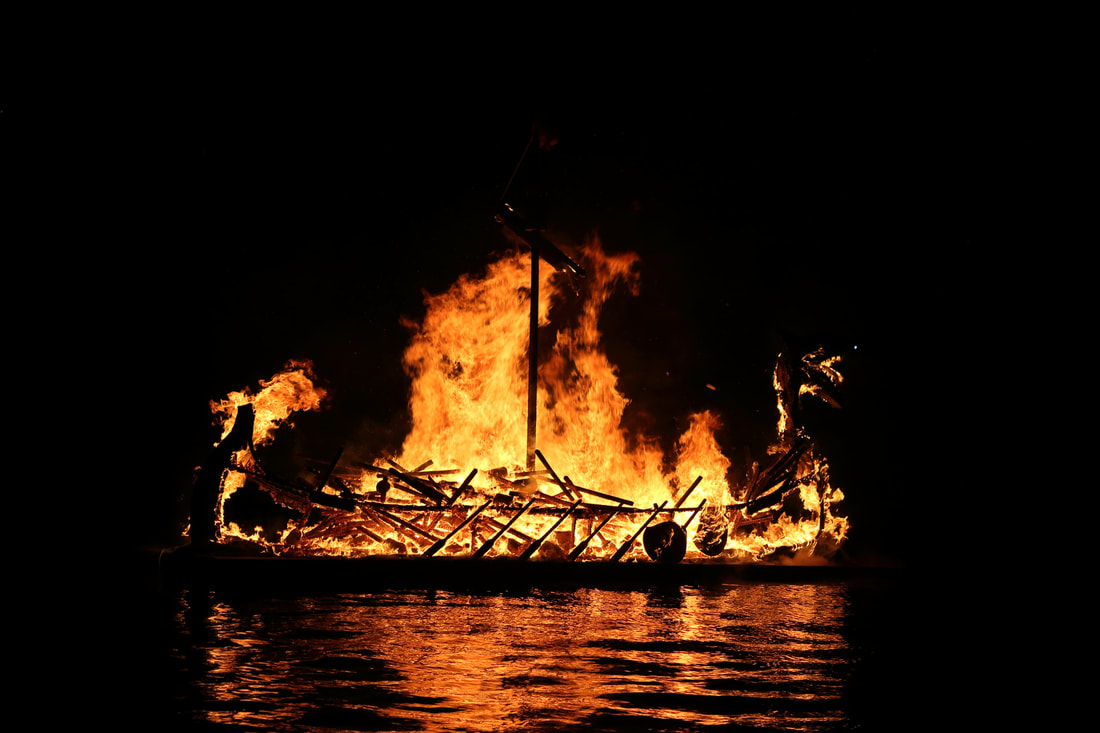 Scalloway Fire Festival galley burning 2017.