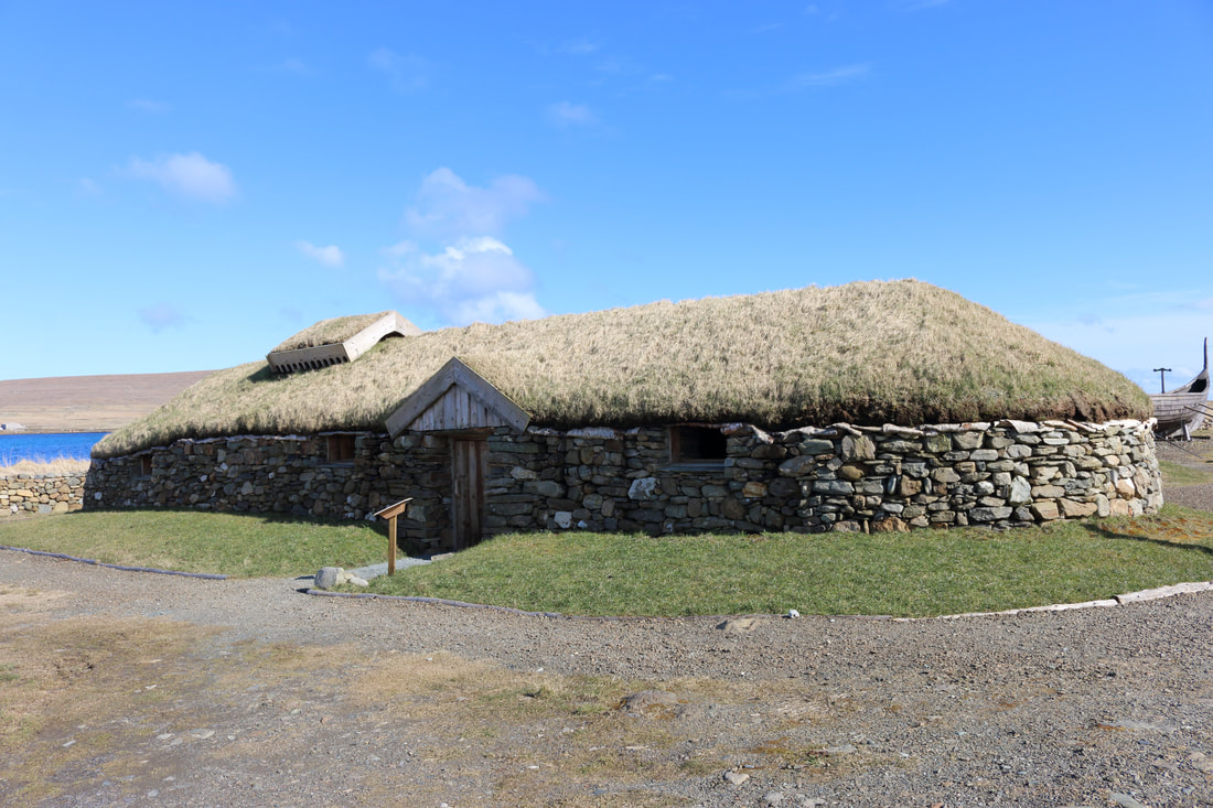 Reconstructed Viking longhouse at Haroldswick, Unst