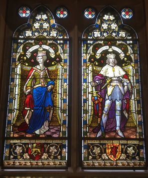 The marriage window in Lerwick Town Hall.  This window depicts the marriage between Princess Margaret of Denmark and King James III of Scotland.