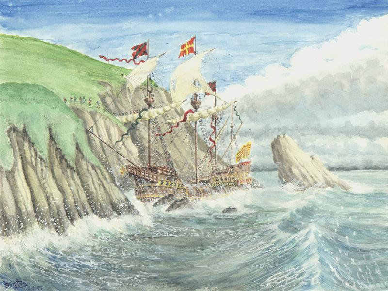 Illustration of the merchantman, El Gran Grifonm wrecked off Fair Isle, Shetland.