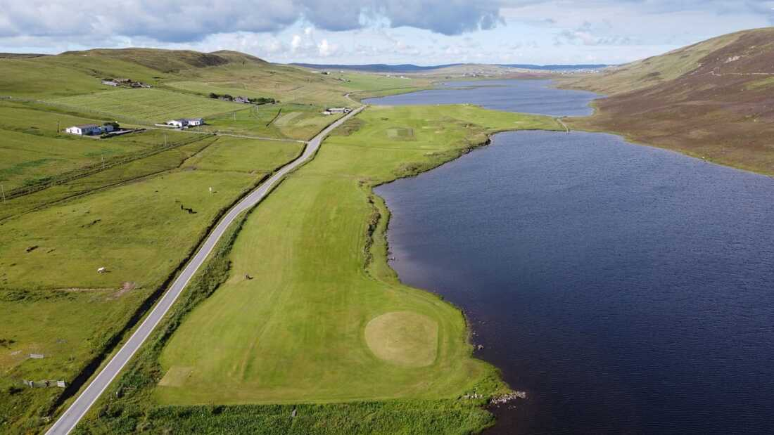 Asta Golf Course flanking the Asta Loch with the Tingwall Loch to the north (top of photo). Photo: Asta Golf Club.