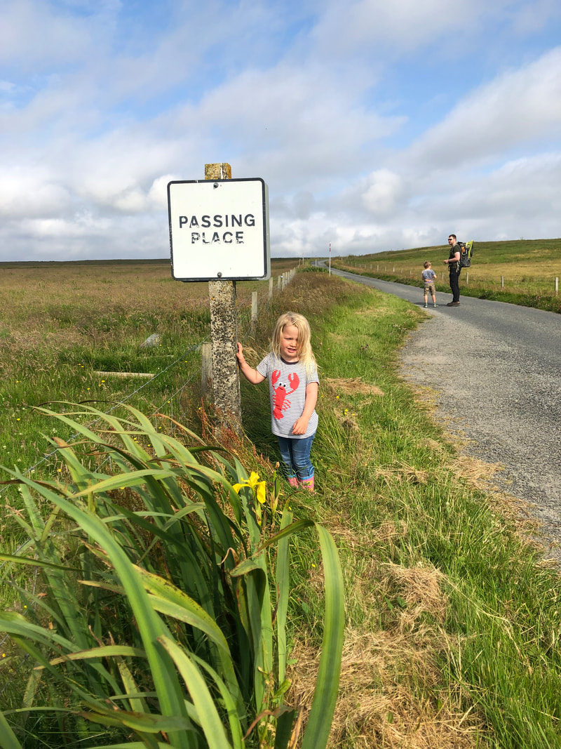Using a Shetland passing place in Fetlar.