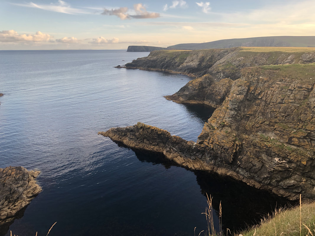 Cliffs at Fetlar in the early evening sun.