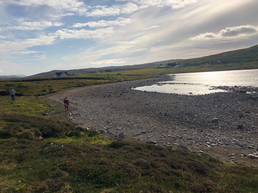 The dry summer meant that the water level in the loch at Girlsta was much lower, allowing access onto the island.