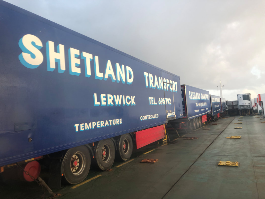 Shetland Transport trucks on the MV Helliar, freight boat to Aberdeen