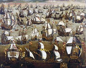 The Spanish Armada depart, 1588.