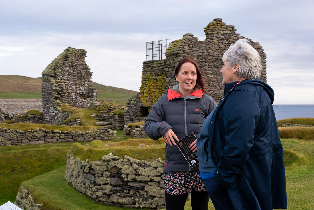The ruined house in the background was Earl Patrick Stewart's residence in Sumburgh, before that, his father had a house here too that Patrick converted into a kitchen and servants' quarters. Photo: Sophie Whitehead.
