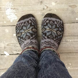 Hand-knitted smucks from Shetland.