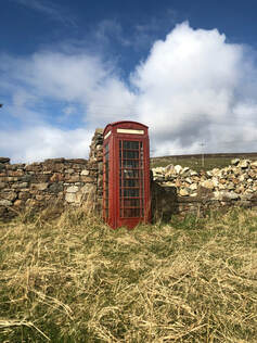 The iconic British phonebox at Culswick, Shetland.