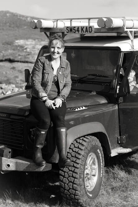 Laurie and her Landrover!